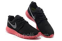 Женские кроссовки Nike Roshe Run черные с красным, фото 1
