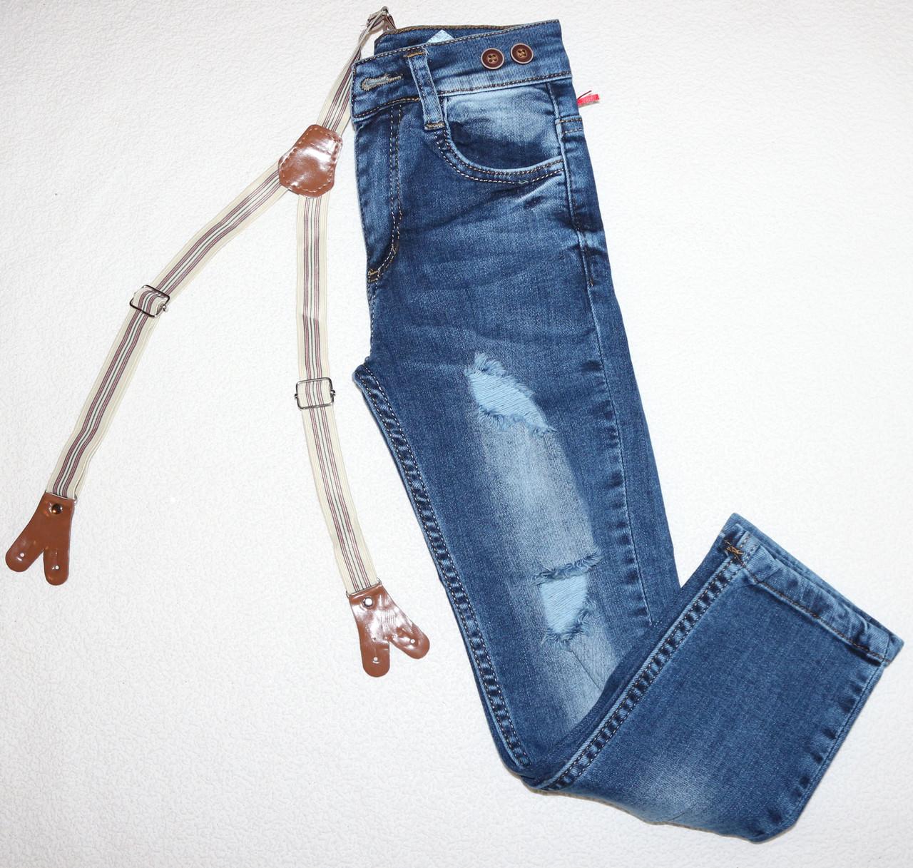 Стильные джинсы на девочку с подтяжками 6,7,8,9,10 лет