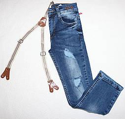 Стильные джинсы на девочку с подтяжками 3,4,5,6,7 лет
