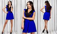 Синее креповое женское платье с запахом без рукавов с атласными вставками