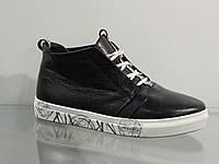 Ботинки молодежные кожаные спорт черные, фото 1
