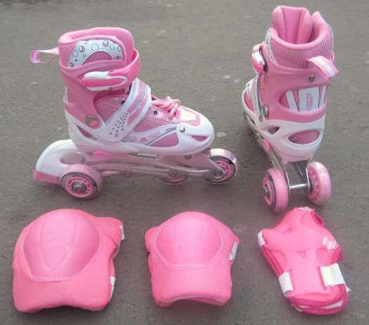 Роликовые коньки, ролики, роздвижные, безшумные, с защитой, качественные, лёгкие, прочные, универсальные