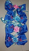 Бутоньерки на ручки свадебного авто шёлковые (синие) 4 шт.