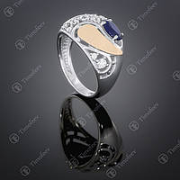 Серебряное кольцо с синим альпинитом цирконами. Артикул П-421