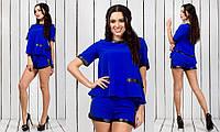 Синий нарядный стильный женский костюм с шортами