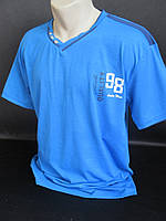 Мужские однотонные футболки с воротником мысик., фото 1
