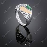 Серебряное кольцо с агатом и фианитами. Артикул П-421