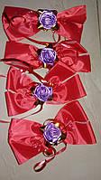 Бутоньерки на ручки свадебного авто шёлковые (красные) 4 шт.