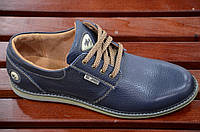 Туфли кожаные очень хорошее качество мужские темно синие молодежные Харьков. Экономия 455 грн