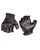 Перчатки тактические кожаные без пальцев с демпфером Mil-Tec Black, 12504502