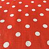 Ткань с горошком 1 см на красном фоне