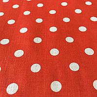 Ткань с горошком 1 см на красном фоне, фото 1