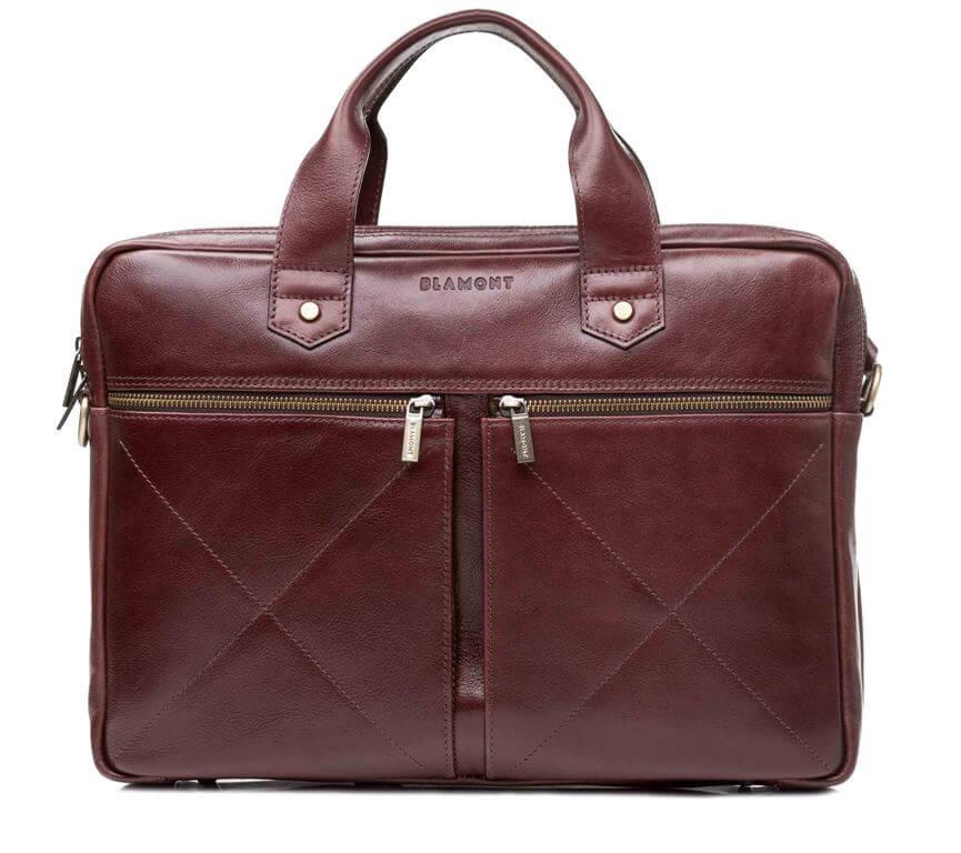 Мужская кожаная деловая сумка Blamont 012 коричневая