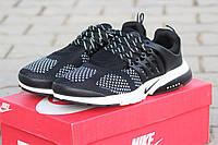 Мужские кроссовки Nike Air Presto, плотная сетка, черно белые / кроссовки мужские Найк Аир Престо