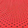 Ткань с черным горошком 1 см на красном фоне