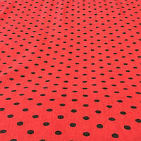 Ткань с черным горошком 1 см на красном фоне, фото 1