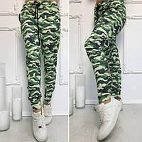 Женские модные зеленые  камуфляжные штаны