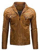 Куртка эко-кожа коричневая  мужская, фото 1