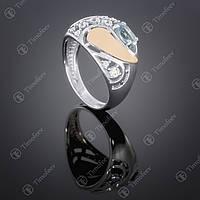Серебряное кольцо с топазом и цирконами. Артикул П-421