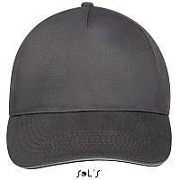 Бейсболка, кепка темно-серая SOL'S SUNNY, Франция, 18 цветов, рекламные под нанесение логотипа