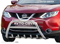 Защитный обвес переднего бампера Nissan Qashqai 2014 - ...