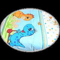 """Простынь на резинке (БЕЗ ОСНОВНОГО РИСУНКА) 120х60 см в детскую кроватку """"Динозавры"""", Голубой"""