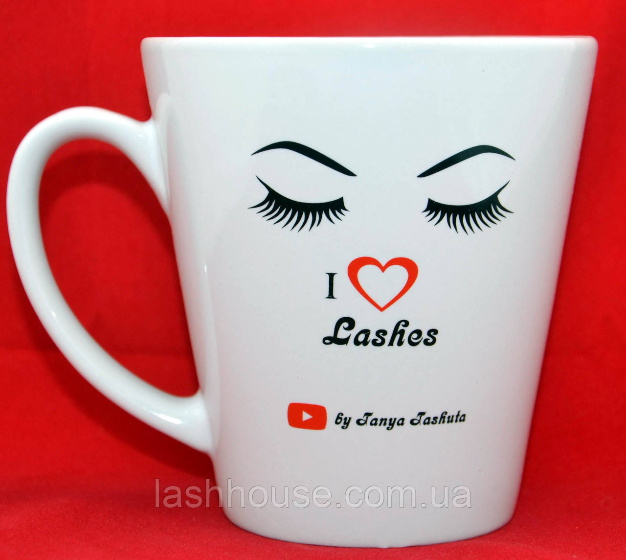 "Чашка фирменная ""I Love Lashes by Tanya Tashuta"" (конусная)"