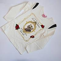 Молочный реглан с декоративными вставками для девочек