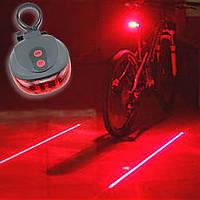 Задний фонарь для велосипеда MirAks LP-3657 Red (Красный/пластик/5 диодов/2 лазера/7+3 режима)