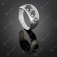 Серебряное кольцо с черными цирконами. Артикул П-426