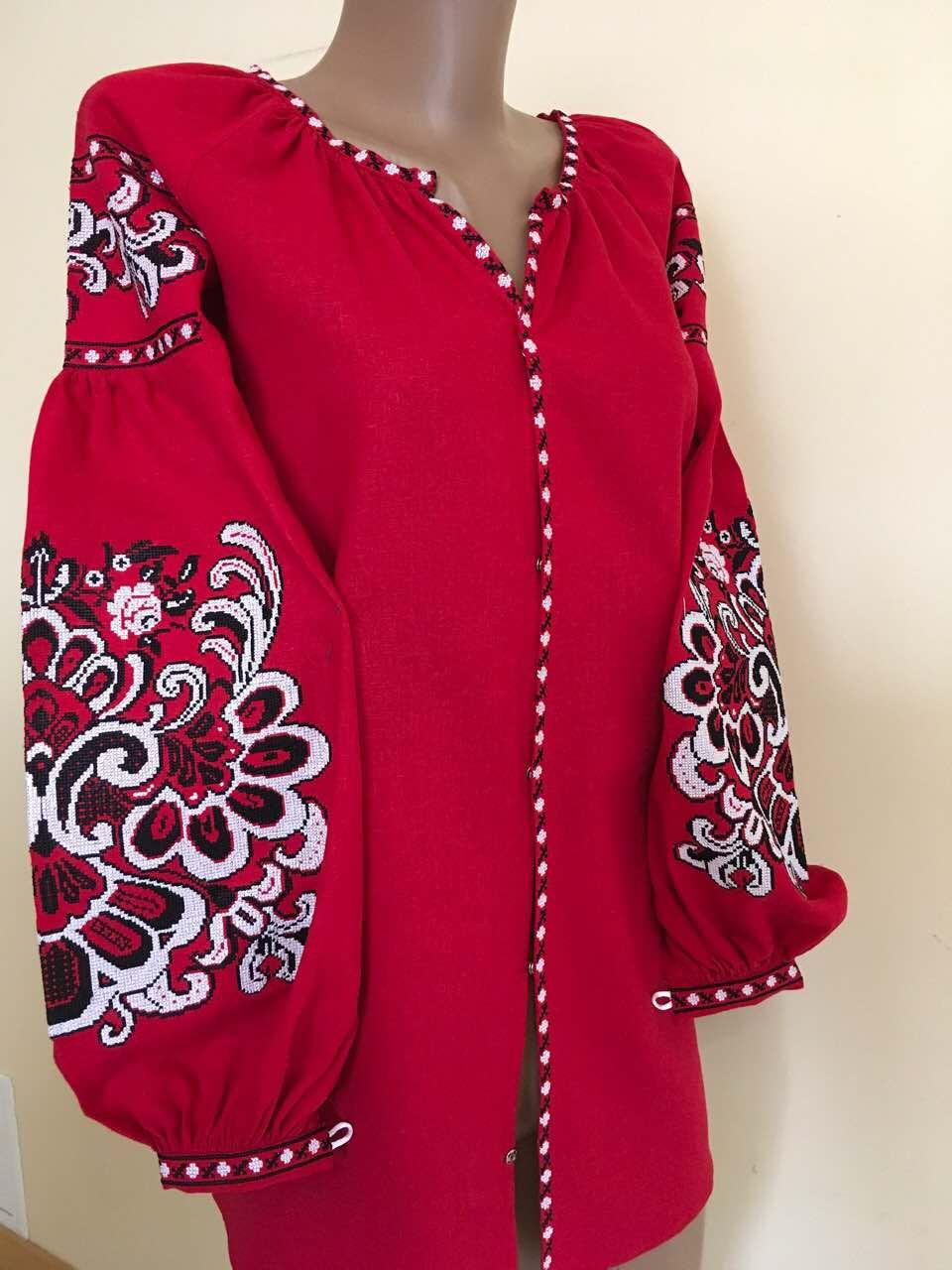 Червона вишита сорочка на льоні в стилі Бохо - Скарбниця Карпат- інтернет  магазин виробів ручної 168dded145dcd