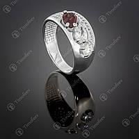 Серебряное кольцо с гранатом и цирконами. Артикул П-426