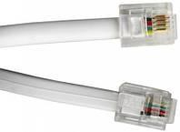 Кабель MirAks TP-3838 White (Белый/пластик/телефонный RJ11/1.5 м)