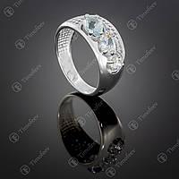 Серебряное кольцо с топазом и цирконами. Артикул П-426