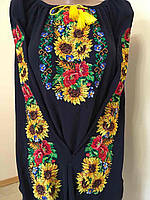 Вишита блуза квітковий орнамент на шифоні, фото 1