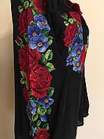 Вишита чорна блуза квітковий орнамент на шифоні, фото 1