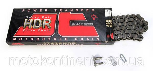 Мото ланцюг 428 122 ланок JT JTC428HDR Без сальникове ланцюг для мотоцикла (замок під засувку)