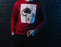 Мужской СВИТШОТ Casual Animals - Pug-Dog (Мопс, Красный) Red 🔥