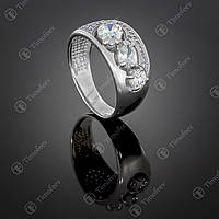 Серебряное кольцо с цирконами. Артикул П-426