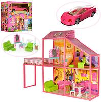 Игрушечный кукольный домик 6981 с мебелью и машиной КК