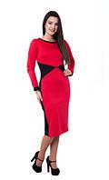 Женское платье Сабрина  миди, деловое, модное  размеры 42, 44, 46, 48, 50, 52, 54, 56 красного цвета
