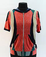 """Блузка """"Нить"""" на молнии с капюшоном, 50-60 размер"""