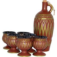 50790 Набор винный 7пр. Грузия №3 коричневый (бут.-1,950л, стакан-300мл)