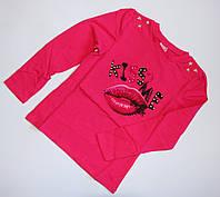Ярко-розовый реглан с принтом для девочек