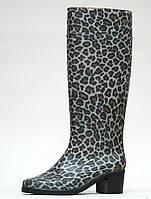 Женские резиновые сапоги на каблуке Леопард 20161