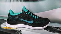 Кроссовки женские Nike Free Run 3.0 черно-бирюзовые