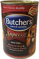 Butcher's Superior Говядина утка и зеленый горошек в желе, 400 гр