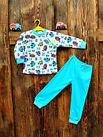 Пижама для мальчика 1 - 3 года Merry Bee 12159 р.86 бирюзовый