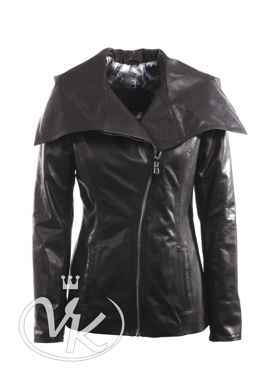 Кожаная куртка с капюшоном женская черная 46 размера (Арт. TRE201)