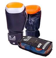 Перчатки боксерские кожаные BAD BOY CLASSIC 10,12 oz черно-оранжевый
